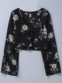 Cropped Floral Blouse - Black M