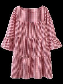 Casual Checked Straight Dress - Red M