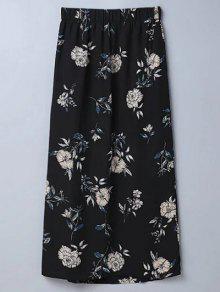 Slit Floral A-Line Skirt - Black M