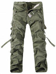 جيوب معدنية سستة تصميم مستقيم الساق البضائع السراويل - الجيش الأخضر 36