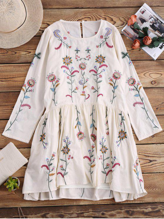 hot Embroidered Smock Dress With Slip Dress - OFF WHITE S