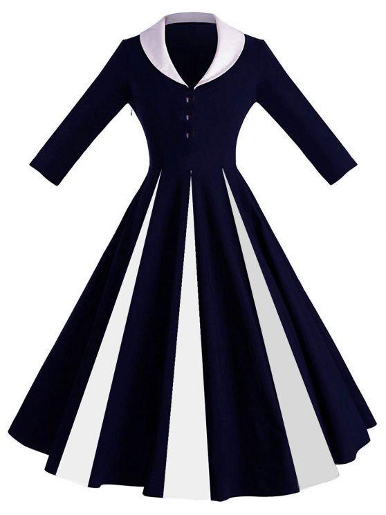 Robe Pin-Up Contrastante à Col Châle - Bleu profond M