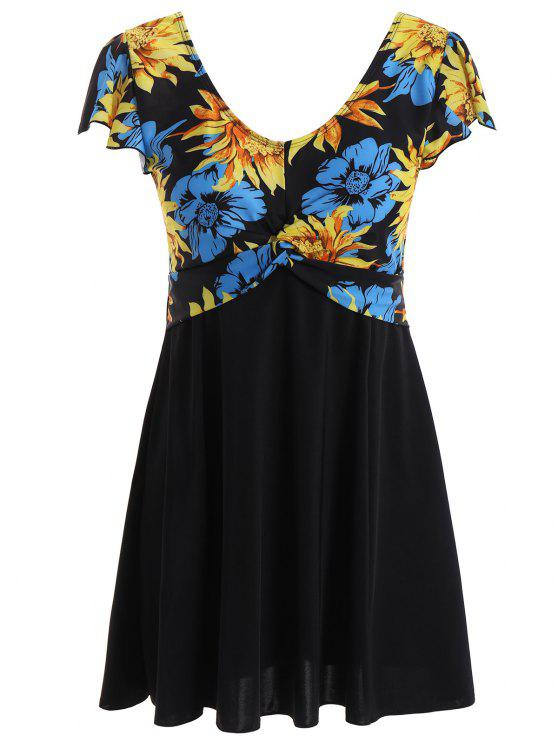 Floral Plus Size Swim Dress BLACK PURPLISH BLUE