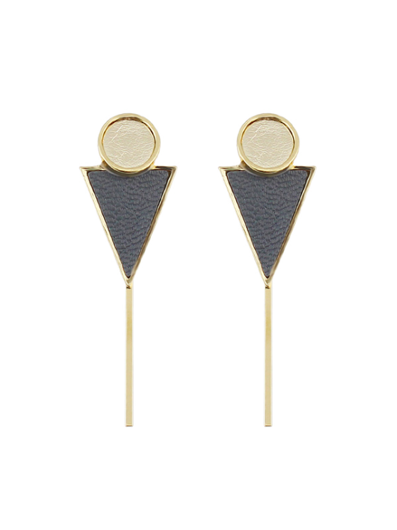 unique Triangle Circle Bar Earrings - GRAY
