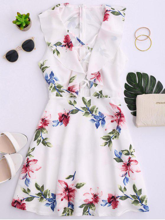 latest Ruffles Floral Plunging Neck Strappy Dress - WHITE S