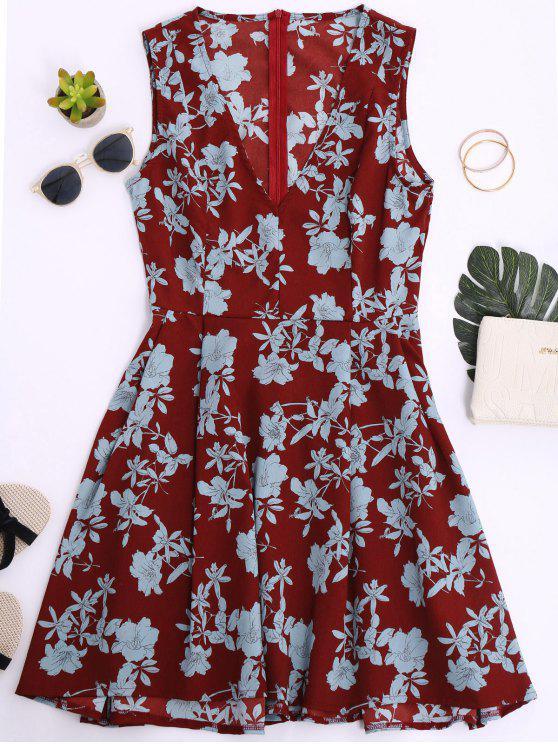 fancy Sleeveless V Neck Floral Dress - BRICK-RED M