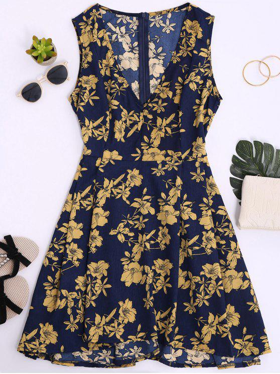 womens Sleeveless V Neck Floral Dress - CERULEAN S