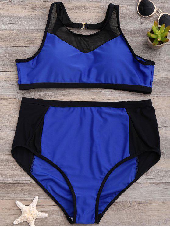 Talle alto de malla Abertura de panel del bikini - Azul 3XL