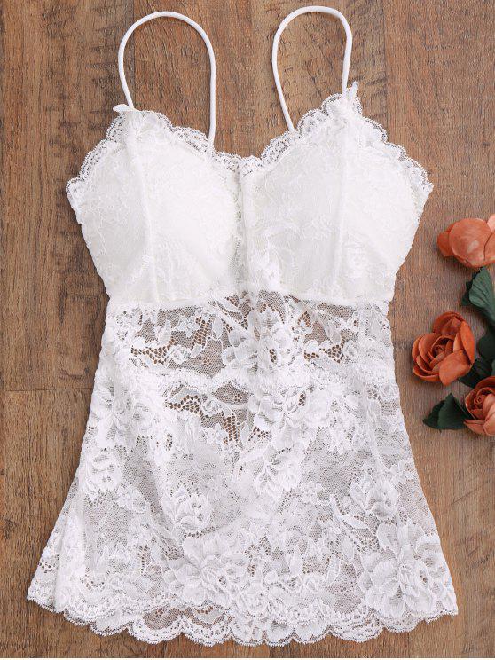 Camisole en dentelle vaporeuse - Blanc Taille Unique