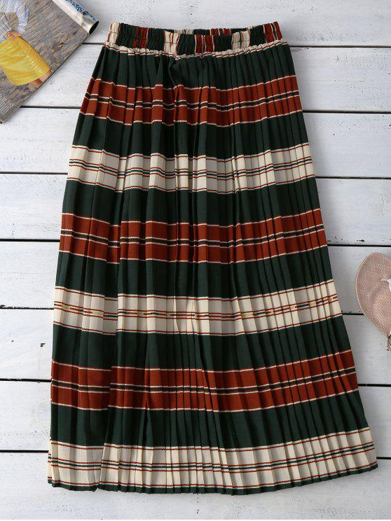 unique Striped Pleated Skirt - COLORMIX ONE SIZE