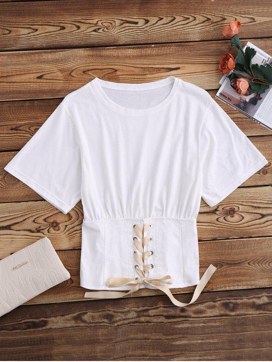 Lace Up Bund Blouson T-Shirt - Weiß XS