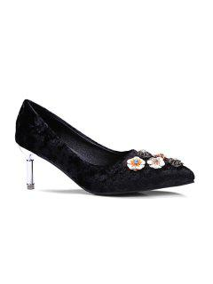 Velvet Pointed Toe Rhinestones Pumps - Black 38