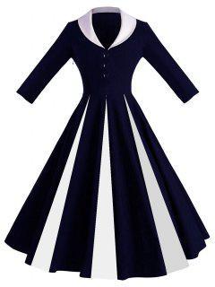 Robe Pin-Up Contrastante à Col Châle - Bleu Foncé M