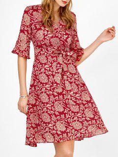 Self Tie Floral Print Manches Cloche Surplice Robe - Rouge Xl