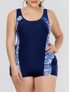 Plus Size Flower Padded One Piece Swimsuit - White 3xl