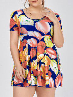 Plus Size Short Sleeve Skirted One Piece Swimsuit - Yellow 5xl