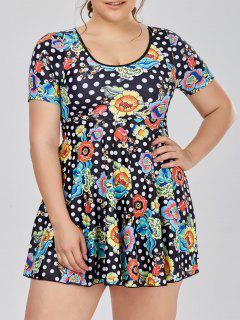 Plus Size Short Sleeve Skirted One Piece Swimsuit - Black 5xl