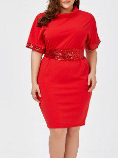 Plus Size Sequined Belted Knee Length Dress - Red 2xl