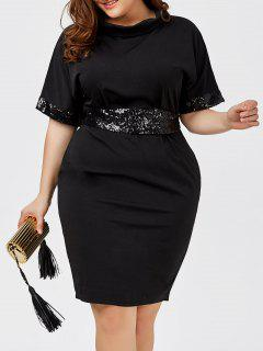 Plus Size Sequined Belted Knee Length Dress - Black 6xl