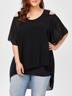 Plus Size Layered Chiffon Open Shoulder Top - Black 4xl