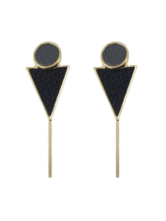 Triangle Circle Bar Earrings - Black