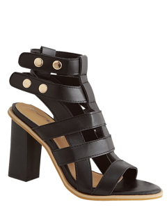 Block Heel Studs Strappy Sandals - Black 39