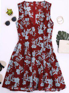 Robe Florale à Col V Sans Manches - Brique Rouge S