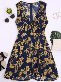 Vestido Floral De Cuello V Sin Mangas - Azul Claro S