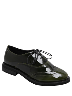 Wingtip Patent Leather Tie Up Flat Shoes - Army Green 39