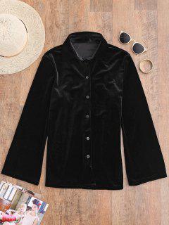 Botón Encima De La Camisa De Terciopelo - Negro S