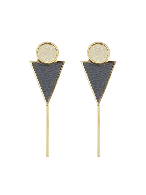 unique Triangle Circle Bar Earrings - GRAY  Mobile