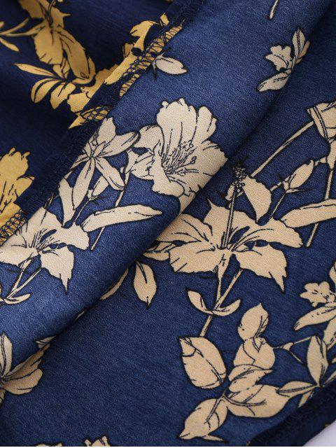 womens Sleeveless V Neck Floral Dress - CERULEAN S Mobile