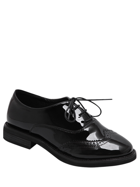 outfits Wingtip Patent Leather Tie Up Flat Shoes - BLACK 39 Mobile