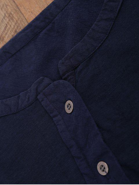 shop Breast Pocket Henley Top - CADETBLUE M Mobile