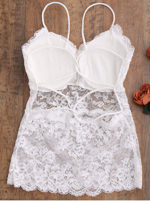 women See Thru Lace Camisole Top - WHITE ONE SIZE Mobile