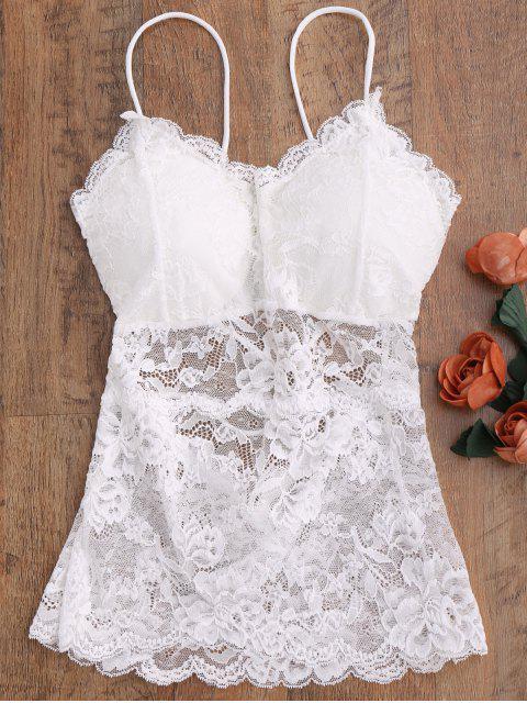 See Thru Lace Camisole Top - Weiß Eine Größe Mobile