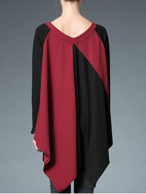 lady Color Block Off Shoulder Top - RED WITH BLACK ONE SIZE Mobile
