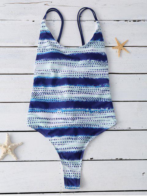 womens Lace Up Tye-Dyed Swimwear - BLUE XL Mobile
