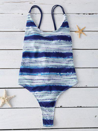 Lace Up Tye-Dyed Swimwear - Blue Xl