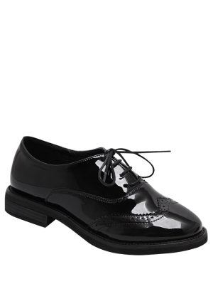 Wingtip Patent Leather Tie Up Flat Shoes