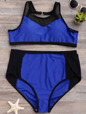 Talle Alto De Malla Abertura De Panel Del Bikini - Azul 2xl