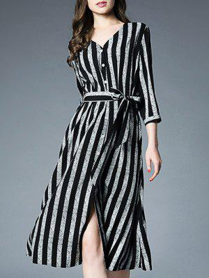 Button Up Striped Dress With Tie Belt