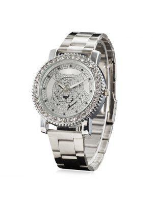 Metallic Strap Rhinestone Tiger Head Watch
