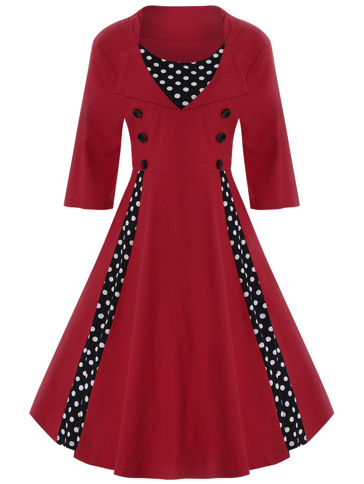 A Line Polka Dot Plus Size Dress