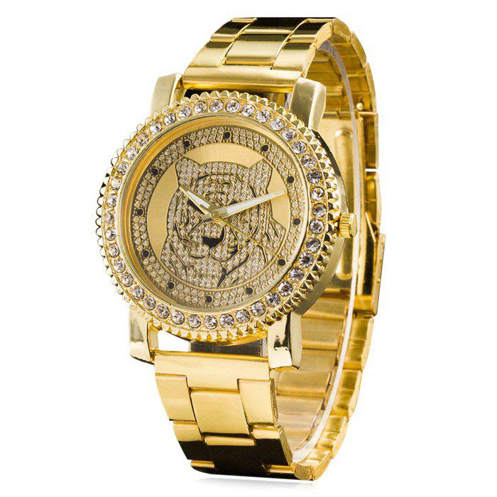 Metallic Strap Rhinestone Tiger Head Watch 209700701