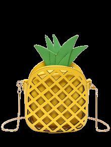 حقيبة كروسبودي مجوفة بتصميم لطيف على شكل أناناس - الأصفر