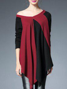Color Block Off Shoulder Top - Red With Black