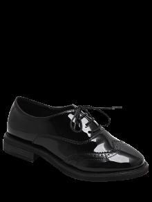 قمة الجناح براءات الاختراع والجلود ادراك التعادل حذاء مسطح - أسود 39