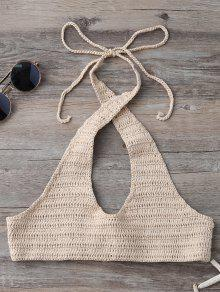 Hollow Out Halter Knitted Bra - Khaki