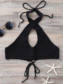 Hollow Out Halter Knitted Bra - Black
